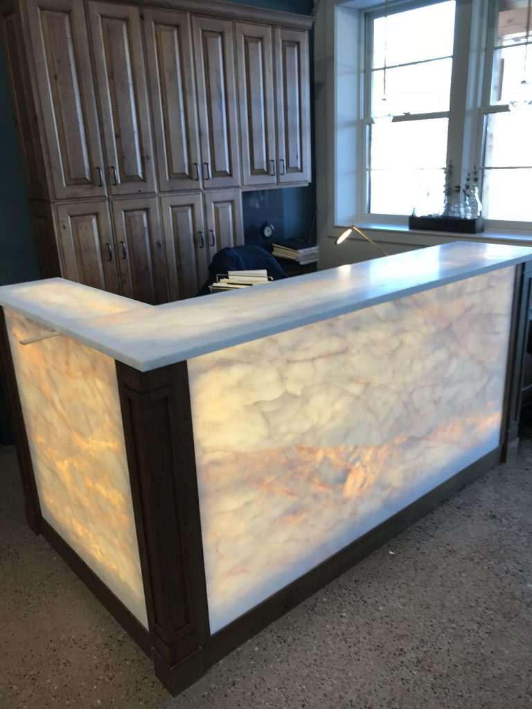 Semi-translucent stone reception desk